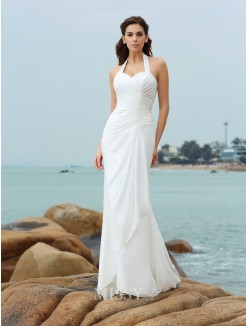Sheath/Column Sleeveless Pleats Halter Court Train Chiffon Wedding Dress
