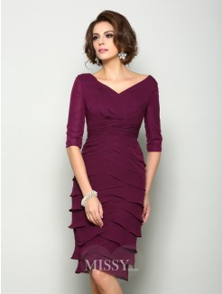 Sheath/Column 1/2 Sleeves V-neck Knee-Length Chiffon Mother of the Bride Dress