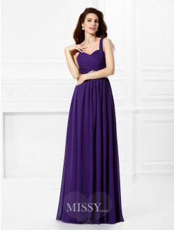 A-Line/Princess Sleeveless Sweetheart Pleats Beading Floor-Length Chiffon Dress