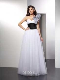 A-Line/Princess Sleeveless One-Shoulder Sash/Ribbon/Belt Floor-Length Net Dresses