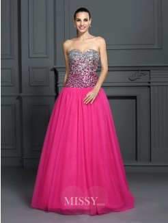 Ball Gown Sleeveless Sweetheart Floor-Length Organza Dresses