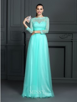 A-Line/Princess Bateau 3/4 Sleeves Lace Sweep/Brush Train Elastic Woven Satin Dresses