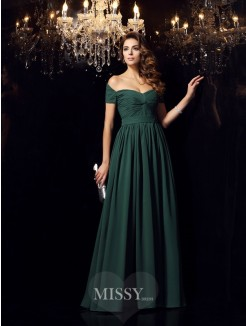 A-Line/Princess Sleeveless Off-the-Shoulder Chiffon Ruched Floor-Length Dresses