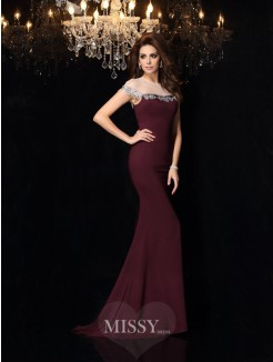 Trumpet/Mermaid Sleeveless High Neck Elastic Woven Satin Court Train Applique Dresses