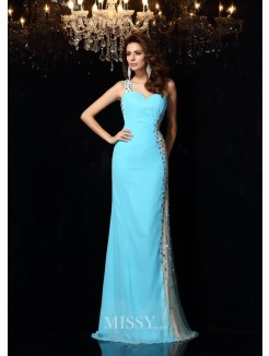 Sheath/Column Sleeveless One-Shoulder Rhinestone Chiffon Floor-Length Dresses