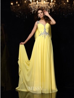 A-Line/Princess Straps Sleeveless Beading Chiffon Court Train Dresses