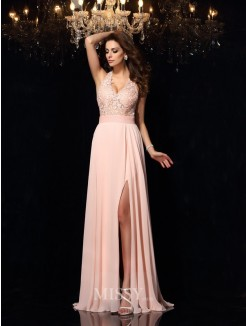 A-Line/Princess Halter Sleeveless Lace Sweep/Brush Train Chiffon Dress