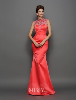 Trumpet/Mermaid Sleeveless High Neck Satin Beading Sweep/Brush Train Dresses