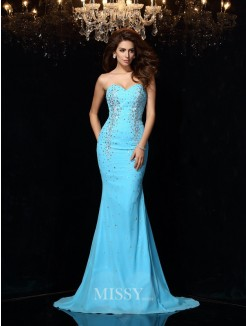 Sheath/Column Sleeveless Sweetheart Court Train Beading Chiffon Dress