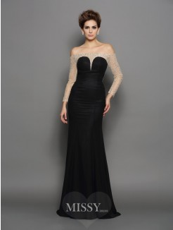 Trumpet/Mermaid Off-the-Shoulder Long Sleeves Beading Chiffon Sweep/Brush Train Dresses