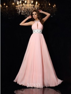 A-Line/Princess Sleeveless High Neck Chiffon Floor-Length Pleats Dresses