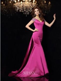 Trumpet/Mermaid Sleeveless Off-the-Shoulder Beading Satin Court Train Dresses
