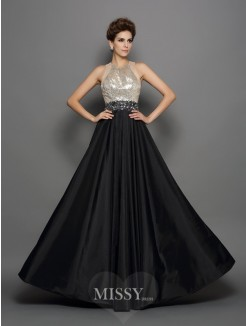 A-Line/Princess Sleeveless Taffeta High Neck Sequin Floor-Length Dresses