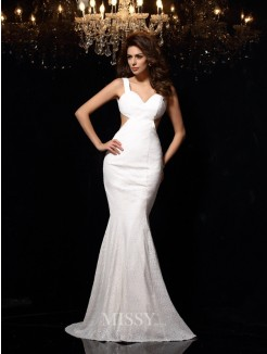 Trumpet/Mermaid Straps Sleeveless Beading Lace Court Train Dresses