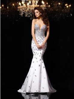 Trumpet/Mermaid Sleeveless Sweetheart Rhinestone Satin Court Train Dresses