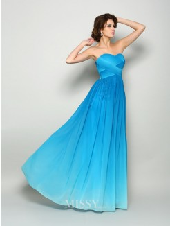 A-Line/Princess Sleeveless Sweetheart Chiffon Floor-Length Pleats Dresses