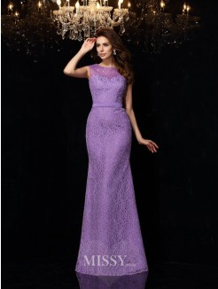 Sheath/Column Sleeveless Scoop Lace Satin Floor-Length Dresses