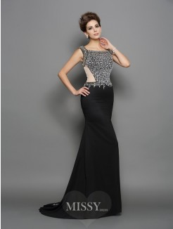 Trumpet/Mermaid Square Sleeveless Chiffon Sweep/Brush Train Beading Dresses
