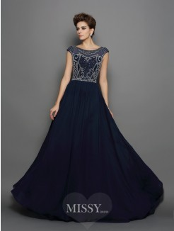 A-Line/Princess Scoop Chiffon Short Sleeves Sweep/Brush Train Beading Dresses