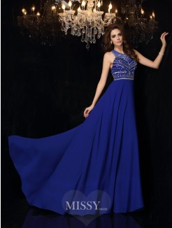A-Line/Princess Sleeveless High Neck Beading Chiffon Sweep/Brush Train Dresses
