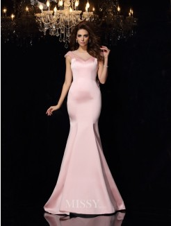 Trumpet/Mermaid Scoop Satin Sleeveless Beading Court Train Dresses