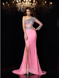 Sheath/Column One-Shoulder Long Sleeves Beading Chiffon Court Train Dresses