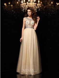A-Line/Princess Sleeveless Scoop Net Beading Floor-Length Dresses