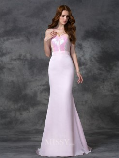 Trumpet/Mermaid Beading Sleeveless Sweetheart Floor-length Satin Chiffon Bridesmaid Dress