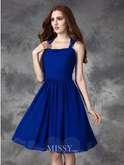 A-line/Princess Sleeveless Straps Ruffles Mini Chiffon Bridesmaid Dresses