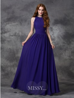 A-line/Princess Sleeveless Jewel Ruched Floor-length Chiffon Bridesmaid Dress