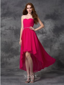 A-line/Princess Sweetheart Beading Sleeveless Asymmetrical Chiffon Dress