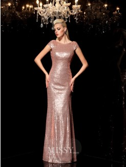 Sheath/Column Sleeveless Scoop Sequin Floor-Length Sequins Dresses