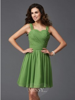 A-Line/Princess Sleeveless Straps Ruffles Mini Silk like Satin Bridesmaid Dresses