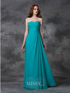 A-line/Princess Sleeveless Sweetheart Ruffles Floor-length Chiffon Dress
