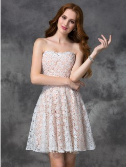 A-line/Princess Sleeveless Sweetheart Lace Mini Cocktail Dress
