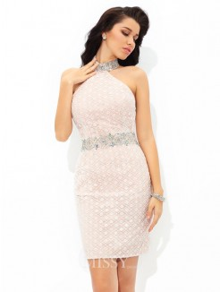 Sheath/Column Halter Sleeveless Lace Mini Satin Cocktail Dresses