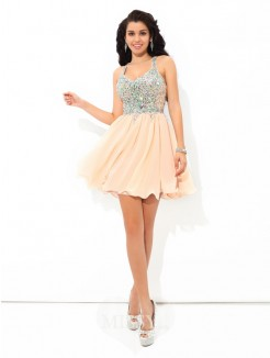 A-Line/Princess Sleeveless Straps Rhinestone Mini Chiffon Cocktail Dresses