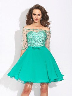A-Line/Princess Off-the-Shoulder Beading 1/2 Sleeves Mini Chiffon Dress