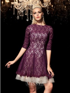 A-Line/Princess Sheer Neck 1/2 Sleeves Lace Mini Lace Cocktail Dresses