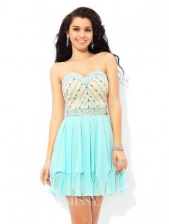 A-Line/Princess Sleeveless Sweetheart Beading Mini Chiffon Cocktail Dresses