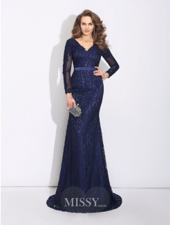 Sheath/Column Long Sleeves V-neck Sweep/Brush Train Lace Dress