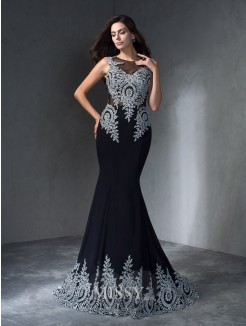 Trumpet/Mermaid Sleeveless Scoop Applique Sweep/Brush Train Chiffon Dress