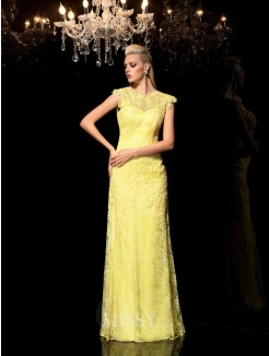 Sheath/Column Sleeveless Sheer Neck Lace Floor-Length Chiffon Dresses