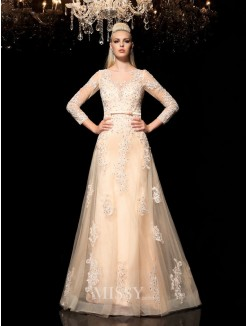 A-Line/Princess Sheer Neck Long Sleeves Applique Floor-Length Satin Dresses