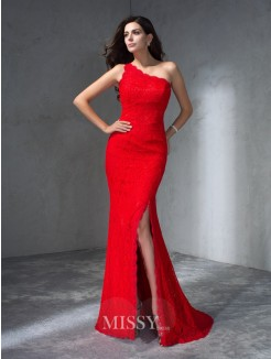 Trumpet/Mermaid Sleeveless One-Shoulder Sweep/Brush Train Lace Dresses