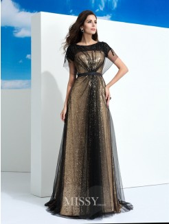 A-Line/Princess Sheer Neck Short Sleeves Paillette Floor-Length Net Dresses
