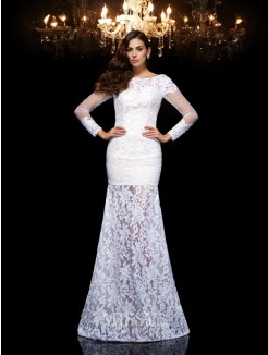 Trumpet/Mermaid Scoop 3/4 Sleeves Lace Floor-Length Dresses