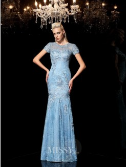 Sheath/Column Sheer Neck Short Sleeves Applique Floor-Length Lace Dresses