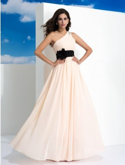 A-Line/Princess Sleeveless One-Shoulder Sash/Ribbon/Belt Floor-Length Chiffon Dresses