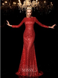 Sheath/Column Scoop Long Sleeves Sequin Sweep/Brush Train Sequins Dresses